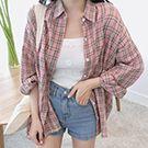 韓版格紋長袖襯衫