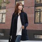 正韓 修飾身材 100%羊毛口袋扣式長版外套