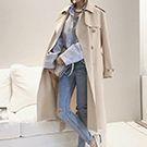 純色中腰系帶風衣外套