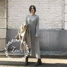 韓國秋冬新款超顯瘦坑條針織洋裝
