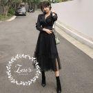 韓國氣質假兩件拼接西裝領洋裝