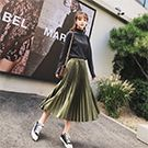 金屬色緞百摺長裙