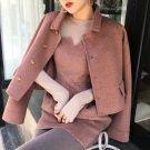 韓國玫紅色復古雙面羊毛外套