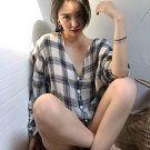 韓版寬鬆顯瘦百搭格子襯衫