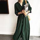 韓系 風衣式外套連身裙