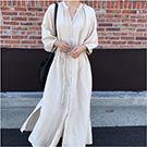 棉麻繫帶五分袖洋裝