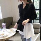 不規則襬V領拼接針織衫
