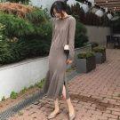 韓國咖色連帽針織羊毛魚尾裙