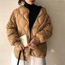 免運 寬鬆菱形格夾棉長袖外套