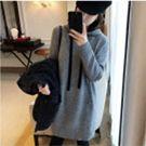韓國50%羊毛花灰連帽針織洋裝