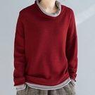 日系假兩件拼色長袖針織衫