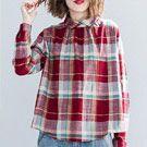 日系格子棉麻襯衫娃娃衫