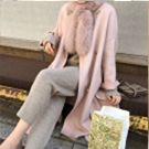 韓國櫻花粉貉子毛雙面羊毛外套
