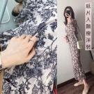 黑白藤花「誰穿誰紙片」顯瘦洋裝