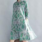 日系棉麻碎花襯衫長袖連身裙