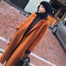 韓國優雅金棕色60%羊毛外套