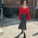 韓國短版毛衣高腰魚尾裙套裝