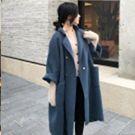 韓國小立領雙排扣雙面羊毛外套