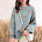 中大碼 韓系寬鬆菱形條紋針織毛衣