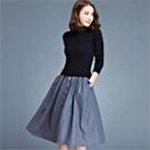 韓版拼接針織長袖洋裝