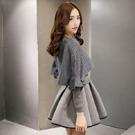 套裝蓬蓬長袖針織冬季連身裙