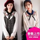 韓國領配色綁帶玫瑰花刺繡雪紡上衣