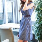 時尚個性條紋圓領無袖洋裝