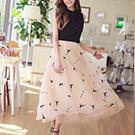 甜美刺綉歐根紗長洋裝