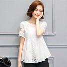韓版修身蕾絲鏤空短袖上衣