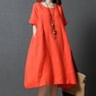 亞麻棉寬鬆連身裙寬洋裝