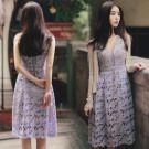 正韓鏤空花朵蕾絲無袖洋裝