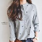 韓條紋刺繡葉立領長版襯衫