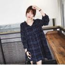 韓國學院風休閒格紋洋裝