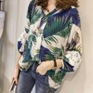 蕾絲鉤花袖印花襯衫上衣