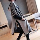 北歐時尚連帽斗篷披肩歐美緹花寬鬆針織罩衫外套