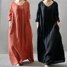 文藝亞麻口袋寬鬆長裙洋裝
