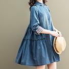 日系 牛仔刺繡捲袖連身裙 洋裝