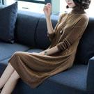 洋裝 高領寬鬆針織連身裙