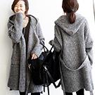 韓國 連帽加厚針織大毛衣外套