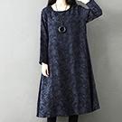 日系 素色緹花長袖連身裙