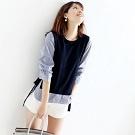 藍白條紋拼接鬆緊袖 假兩件針織衫(羊毛混紡)