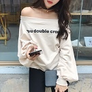 韓版秋冬季簡約字母印花T恤潮寬鬆長袖一字領