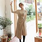 韓國小氣質休閒格紋吊帶連身裙