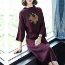 連身裙 氣質寬鬆串珠針織裙