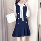 套裝 長袖襯衫+背心裙