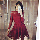 顯瘦性感長袖蕾絲洋裝