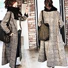 韓國 宽鬆格子風衣外套長袖大衣