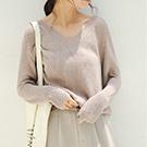 寬鬆仿羊絨長袖毛衣針織衫