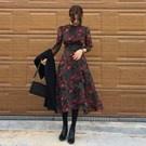 韓國小氣質休閒碎花洋裝