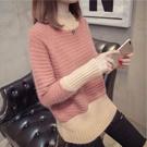 半高領撞色寬鬆針織毛衣
